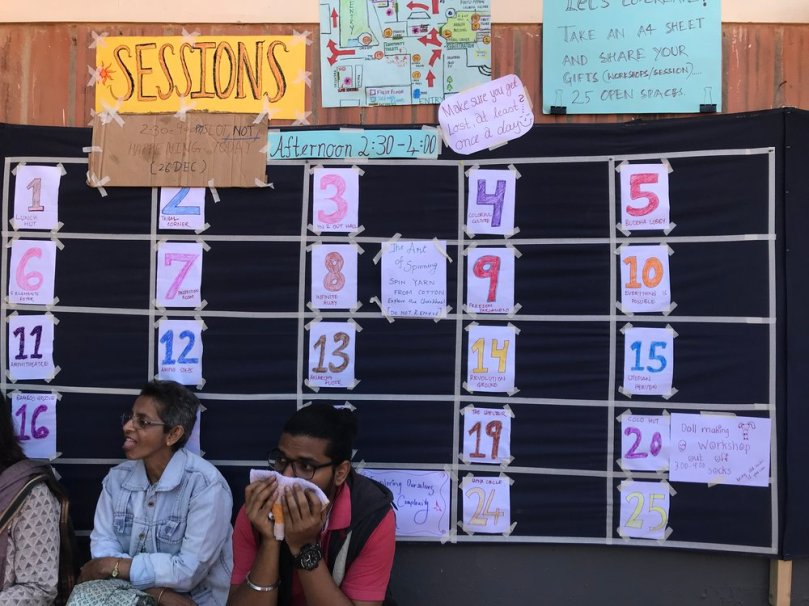 The Open Sessions board. Anyone who wanted to lead a session on anything at all, could create a poster and pin it up next to a number with a certain location and time.