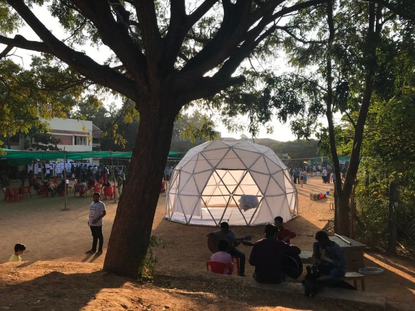A dome built onsite by one of the participants.